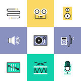 Audio and sound pictogram icons set. Sound volume and audio speaker objects, music player, musical instrument, vinyl record, cable interface plug. Unusual line Stock Illustration