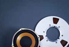 Audio Sound Speaker and Metal Open Reel Objects Collection Stock Images