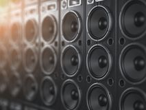 Audio sound speaker system. Black loudspeakers in a row with DO. F effect. Music club background. 3d illustration stock illustration