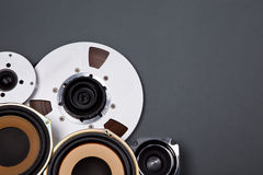 Audio Sound Speakers and Open Reel Objects Collection Royalty Free Stock Photography