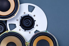 Audio Sound Speakers and Open Reel Objects Collection Stock Photos