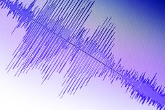 Audio sound wave studio editing. Computer program screen showings sounds on screen from vocal recording of voiceover royalty free stock photos