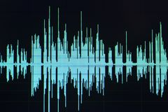 Audio sound wave studio editing. Computer program screen showings sounds on screen from vocal recording of voiceover stock photography