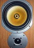 Audio speaker. High and low bass system speakers Royalty Free Stock Photos