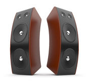 Audio speaker. Acoustic system 3D.  on white Stock Photos