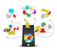 Audio speaker with colored business sketches Stock Images