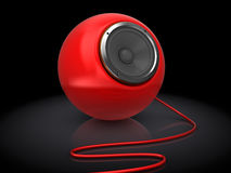 Audio speaker. 3d illustration of red audio speaker over black background Royalty Free Stock Photos