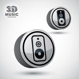 Audio speaker 3d vector round icon. Royalty Free Stock Images