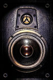 Audio Speaker Enclosure Bass and Tweeter Drivers. High fidelity audio stereo system sound speaker enclosure with low bass and treble tweeter loudspeaker cone royalty free stock photo