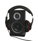 Audio speaker and headphones isolated over white Royalty Free Stock Image