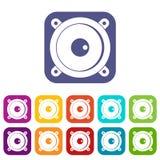 Audio speaker icons set flat Royalty Free Stock Image
