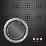 Audio speaker on metallic perforated background. Abstract illustration Royalty Free Stock Images