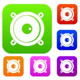 Audio speaker set color collection Stock Photo
