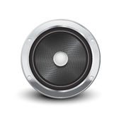 Audio speaker in silver Stock Photo