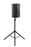 Audio speaker. Audio speaker is on the stand on white, work with path Royalty Free Stock Photo