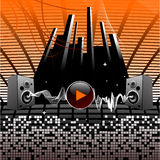 Audio speakers. HI tech vector music wallpaper with sound waves. Audio speakers, warm colors stock illustration