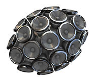 Audio speakers. Abstract 3d illustration of audio speakers sphere isolated over white background Stock Photo