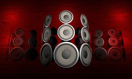 Audio Speakers. Futuristic set of speakers floating in front of a brick surface vector illustration