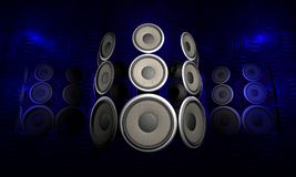 Audio Speakers. Futuristic set of speakers floating in front of a metal surface stock illustration