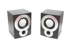 Audio speakers. Isolated two black audio speakers Royalty Free Stock Photo