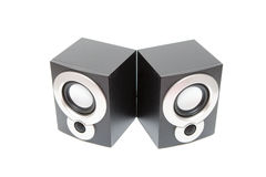 Audio speakers. Isolated two black audio speakers Stock Image