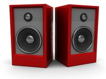 Audio speakers. 3d illustration of two audio speakers over white background Royalty Free Stock Image