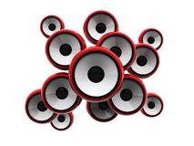 Audio speakers. Abstract 3d illustration of audio speakers over white background Royalty Free Stock Photography