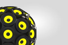 Audio Speakers as Sphere. 3d Rendering. Audio Speakers as Sphere on a white background. 3d Rendering Stock Photo