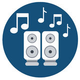 Audio speakers icon with music notes Stock Image