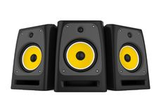 Audio Speakers Isolated. On white background. 3D render royalty free illustration