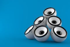 Audio speakers. Isolated on blue background. 3d illustration royalty free illustration