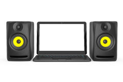 Audio Speakers with Laptop. 3d rendering Stock Photography
