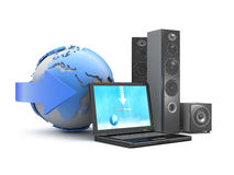 Audio speakers, laptop and earth globe Stock Image