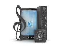 Audio speakers and mobile phone Royalty Free Stock Photo