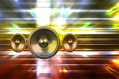Audio speakers and party lights Stock Photo