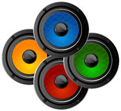 Audio speakers. Set of four colored audio speakers Stock Image