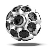 Audio speakers sphere. Isolated on a white background. 3d render Stock Image