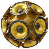 Audio speakers sphere isolated on white Royalty Free Stock Images