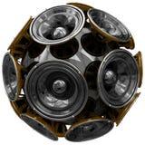 Audio speakers sphere isolated on white Stock Photos