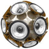 Audio speakers sphere isolated on white Royalty Free Stock Photography
