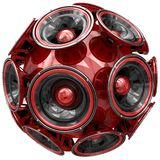 Audio speakers sphere isolated on white Royalty Free Stock Image