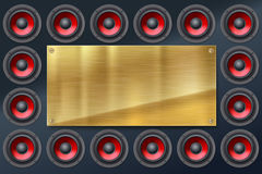 Audio speakers, subwoofers, wall of sound loudspeaker with red diffuser isolated on dark background Royalty Free Stock Image