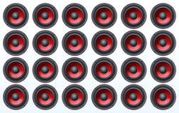 Audio speakers, subwoofers, wall of sound loudspeaker with red diffuser isolated on white background Stock Photo