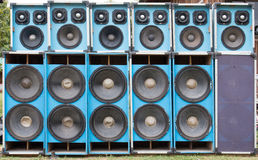Audio speakers used. Many front Audio speakers used , texture Royalty Free Stock Photography