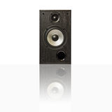 Audio speakers in a wooden case with reflection, isolated Stock Image
