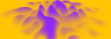 Audio-Spektrum wavefrom Echo des Vektors 3d Musik bewegt futuristische Sichtbarmachung des Oszillationsdiagramms wellenartig Oran lizenzfreie abbildung