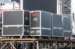 Audio stage amplifiers, speakers and equipment Royalty Free Stock Images