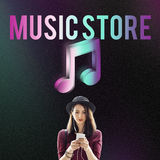 Audio Store Music Note Icon Graphic Concept stock photography