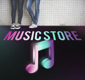 Audio Store Music Note Icon Graphic Concept. People Listening Audio Store Musical Note Stock Photo