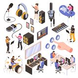 Audio Studio Isometric Set royalty free illustration